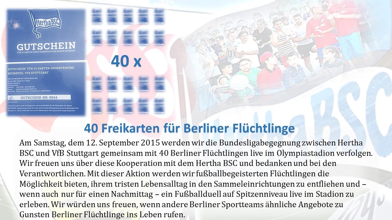 Hertha vs. Stuttgart mit 40 Geflüchteten Tas Linke