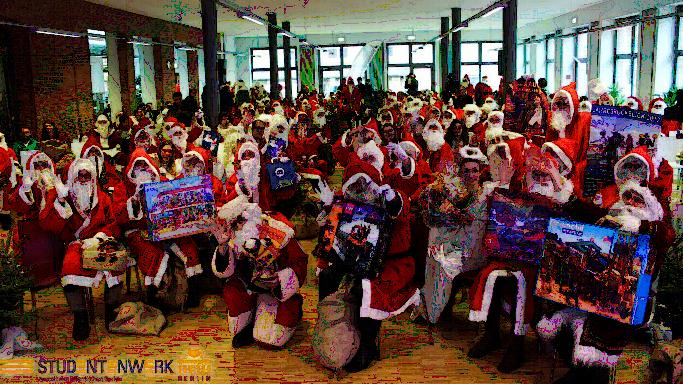 Studentenwerk Weihnachtsmann Engel Flüchtlinge