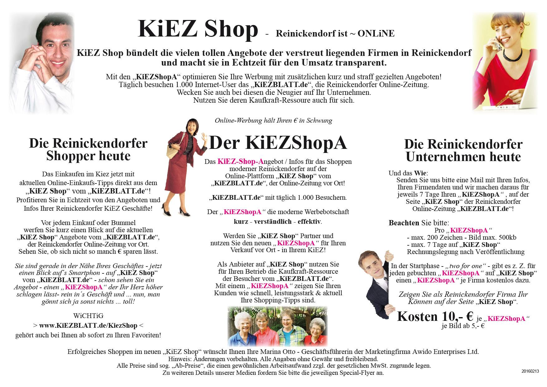 Flyer Werbung A 4 KiEZ Shop