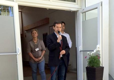 Frau Pausewang von Horizonte, Bezirksstadtrat Uwe Brockhausen Herr Giebenhain von AWO pro Mensch a